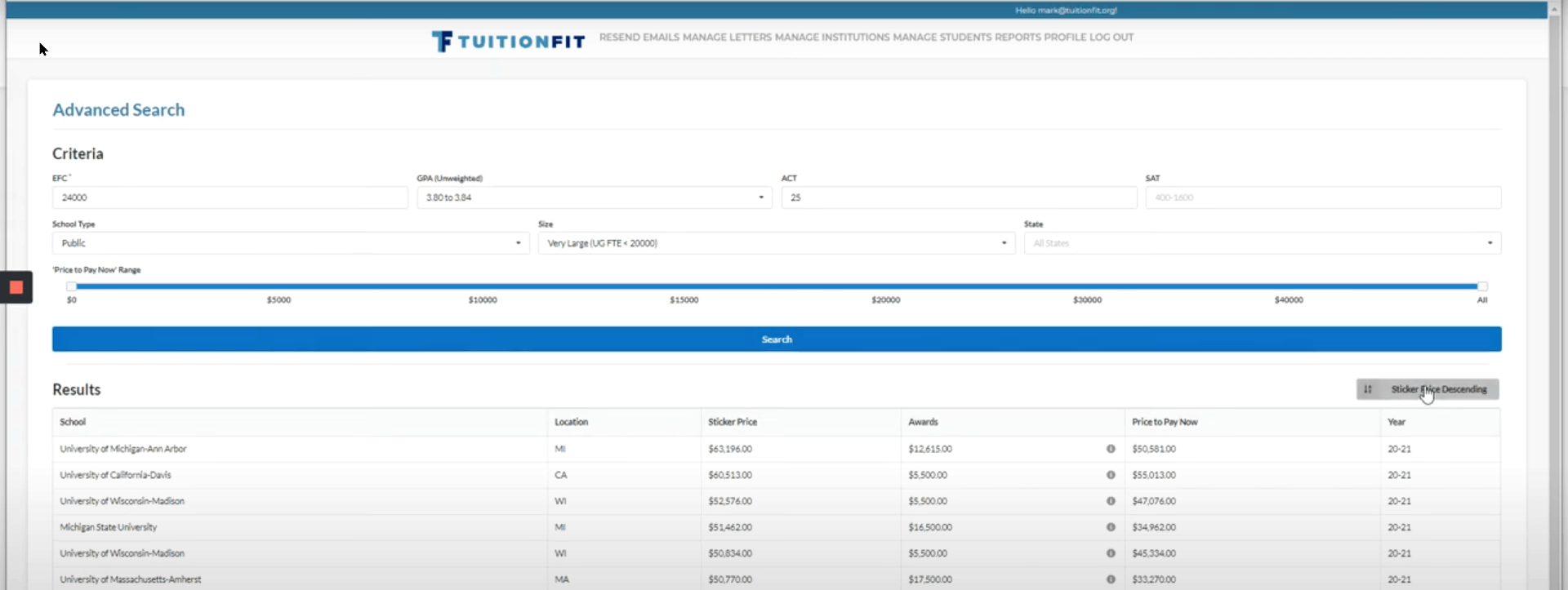 TuitionFit Advanced Search Tool Screenshot